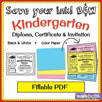 Kindergarten Owl Graduation Diploma and Invitation Fillable B&W Save Ink