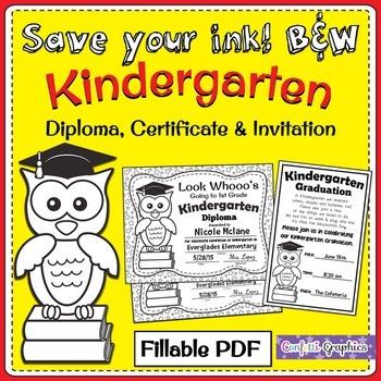 Kindergarten Owl Graduation Diploma and Invitation Fillabl