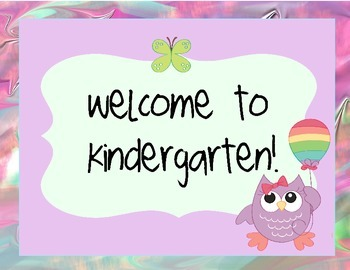 Kindergarten Owl Themed Welcome Set