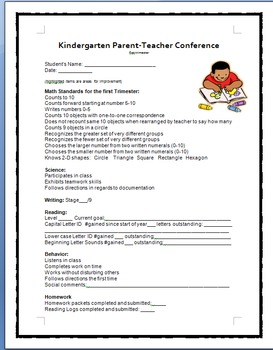 Kindergarten P-T Conference forms (1st and 2nd trimesters)