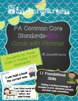 Kindergarten PA Common Core Standards Cards-ELA