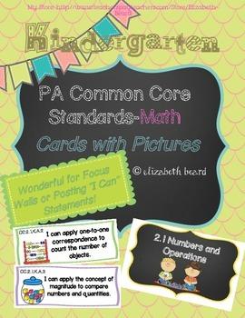 Kindergarten PA Common Core Standards Cards-Math
