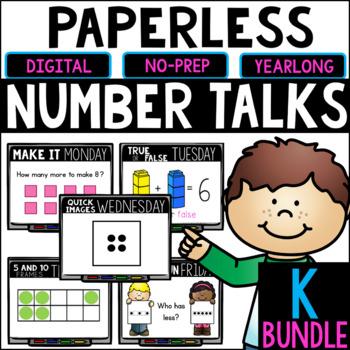 Kindergarten PAPERLESS Number Talks- A YEARLONG BUNDLE