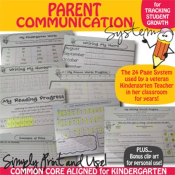 Kindergarten PARENT COMMUNICATION SYSTEM {Common Core Aligned}