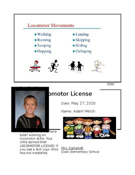 Kindergarten PE Locomotor License