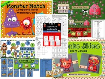 Kindergarten PHONICS Resources *HUGE!!* 14 products *  ELA vowels