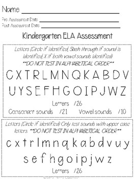 Kindergarten PRE- and POST-Assessments: ELA