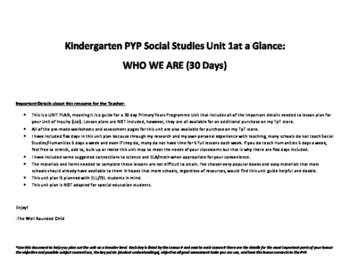 Kindergarten PYP Unit 1 Guide: Who We Are (30 days)