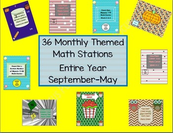 Kindergarten Pack #1 Bundled Monthly Themed 36 Math Stations CC Aligned B2S
