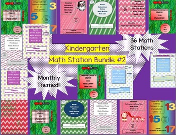 Kindergarten Pack #2 Bundled Monthly Themed 36 Math Stations CC Back to School