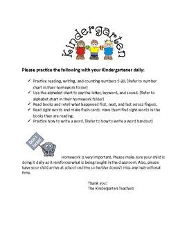 Kindergarten Parent Letters