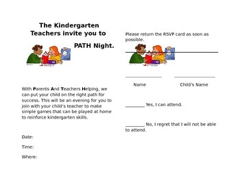 Kindergarten Parent Make and Take Invite