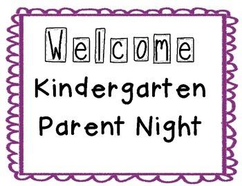 Kindergarten Parent Night Posters