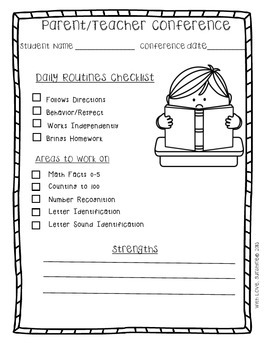 Superb image with regard to parent teacher conference form free printable