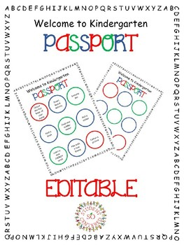 Kindergarten Passport EDITABLE