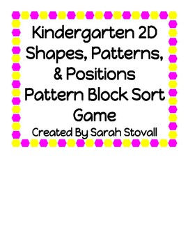 Kindergarten Pattern Block Sort Game