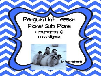 Kindergarten Penguin Theme sub plans / Lesson Plans
