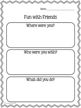 Personal Narrative Writing for Kindergarten ~ Fun With Friends {Common Core}