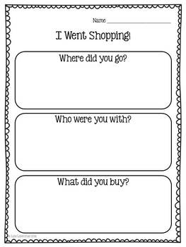 personal narrative writing for kindergarten i went shopping common core. Black Bedroom Furniture Sets. Home Design Ideas