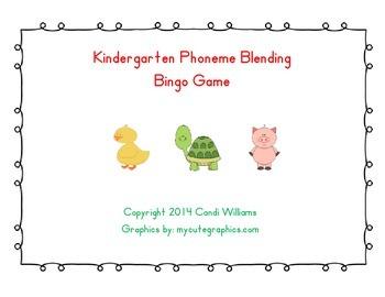 Kindergarten Phoneme Blending Animal Bingo Game-Phonemic A
