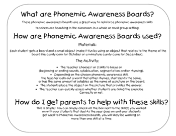 Kindergarten Phonemic Awareness Holiday Boards