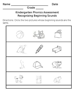 Kindergarten Phonics Assessment: Identifying the Beginning Sound