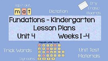 Kindergarten Phonics Daily Lesson Plans, Unit 4