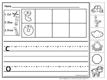Kindergarten Phonics - for Unit 1; Cut, Glue and Print