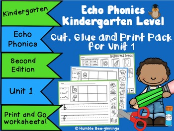 Kindergarten Phonics - for Unit 1; Cut, Glue and Print