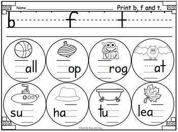 Kindergarten Phonics - for Unit 1; Missing Letters