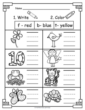 Kindergarten Phonics for Unit 1; Print and Color