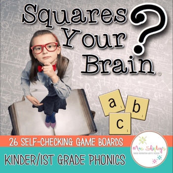 Phonics Review Games Kindergarten/First Grade-- Squares Your Brain™