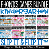 Kindergarten Phonics Games Bundle, Slip It and Flip It Sel