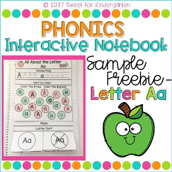 Kindergarten Phonics Interactive Notebook- Letter Recognition Freebie