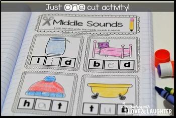 Kindergarten Phonics Interactive Notebook...Beginning, Middle, and Ending Sounds