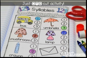 Kindergarten Phonics Interactive Notebook...Rhyming, Syllables, and Vowels