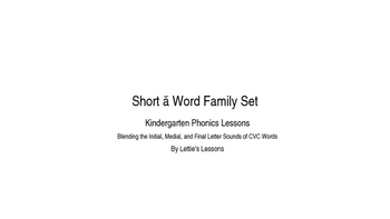 Kindergarten Phonics Lesson: Blending CVC Words- Short a Word Family Set