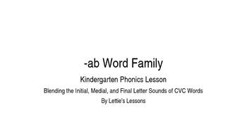 Kindergarten Phonics Lesson: Blending CVC Words- ab Word Family