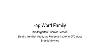 Kindergarten Phonics Lesson: Blending CVC Words- ap Word Family