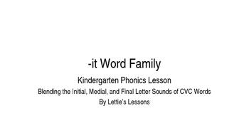 Kindergarten Phonics Lesson: Blending CVC Words -it Word Family