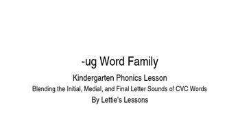 Kindergarten Phonics Lesson: Blending CVC Words -ug Word Family