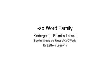 Kindergarten Phonics Lesson: Blending onset and rime- Short a Word Family Set