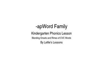 Kindergarten Phonics Lesson: Blending onset and rime- ap W