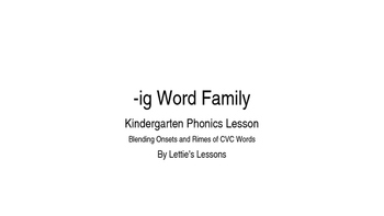 Kindergarten Phonics Lesson: Blending onset and rime- ig W