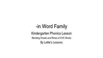 Kindergarten Phonics Lesson: Blending onset and rime- in W
