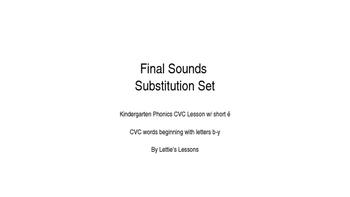 Kindergarten Phonics Lesson: Final Sound Substitutions Short e Words b-y Set
