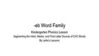 Kindergarten Phonics Lesson: Segmenting CVC Words- eb Word Family
