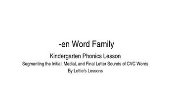Kindergarten Phonics Lesson: Segmenting CVC Words- en Word Family