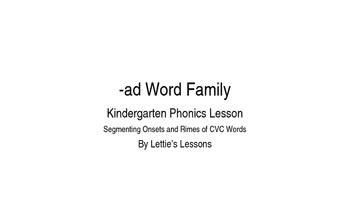 Kindergarten Phonics Lesson: Segmenting onset and rime Short a Word Family Set