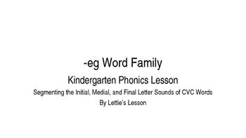 Kindergarten Phonics Lesson: Segmenting onset and rime- eg